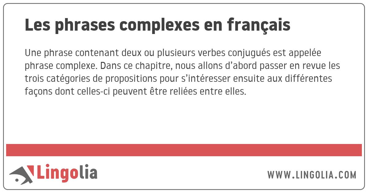 Les phrases complexes en français