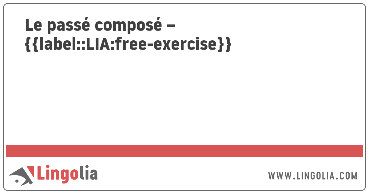 Le Passe Compose Exercices