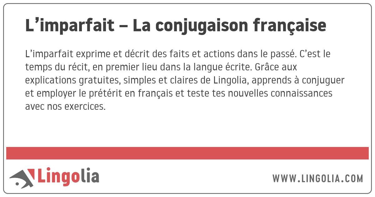 L Imparfait La Conjugaison Francaise