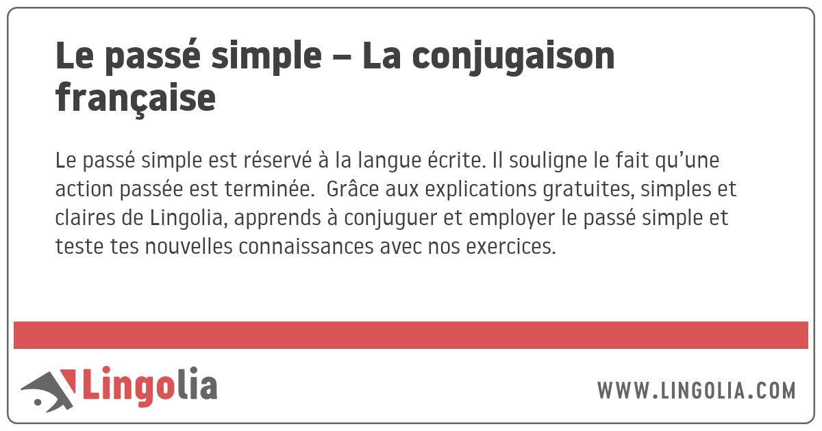 Le Passe Simple La Conjugaison Francaise