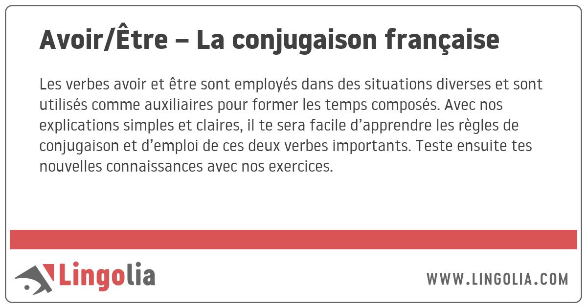 Avoir Etre La Conjugaison Francaise