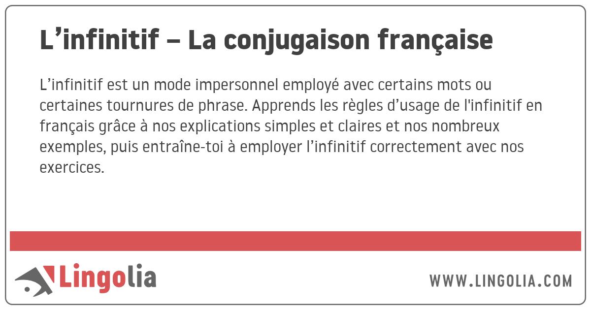 L\u0027infinitif \u2013 La conjugaison française