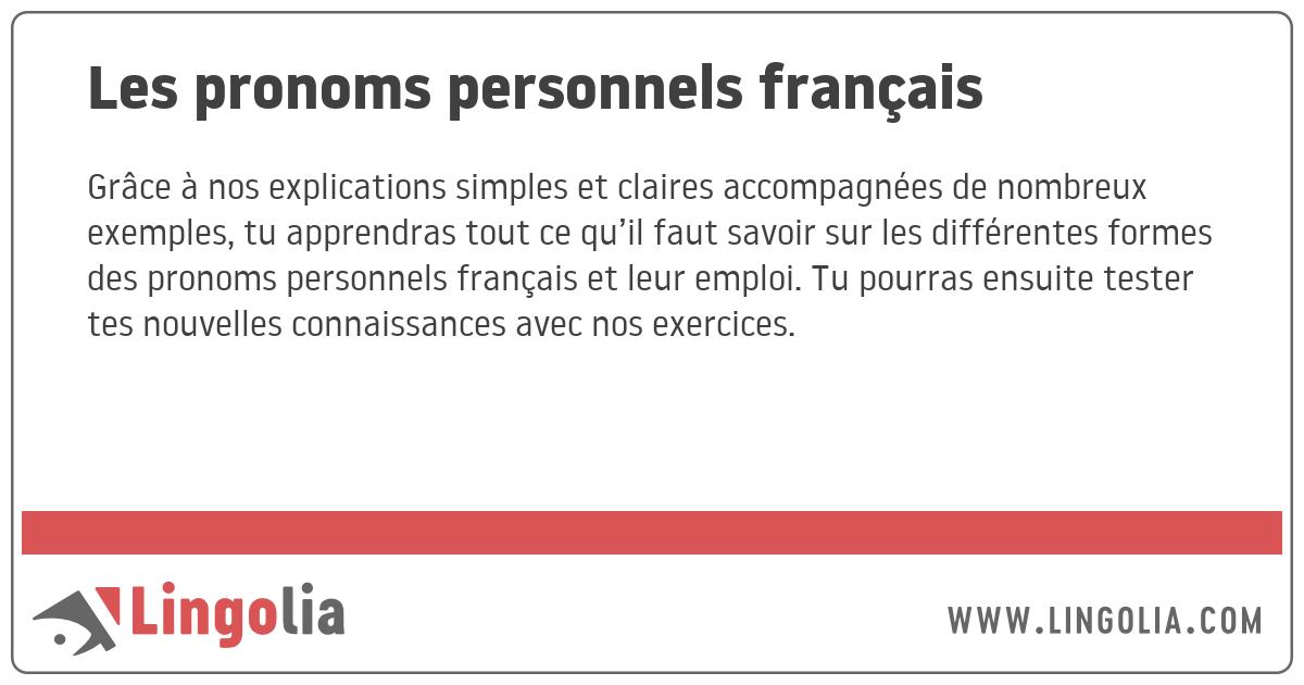 Les Pronoms Personnels Francais