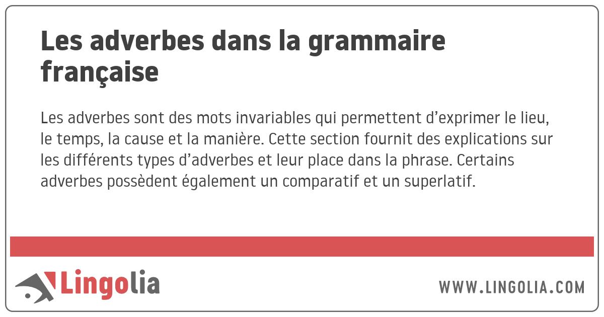 Les adverbes dans la grammaire française