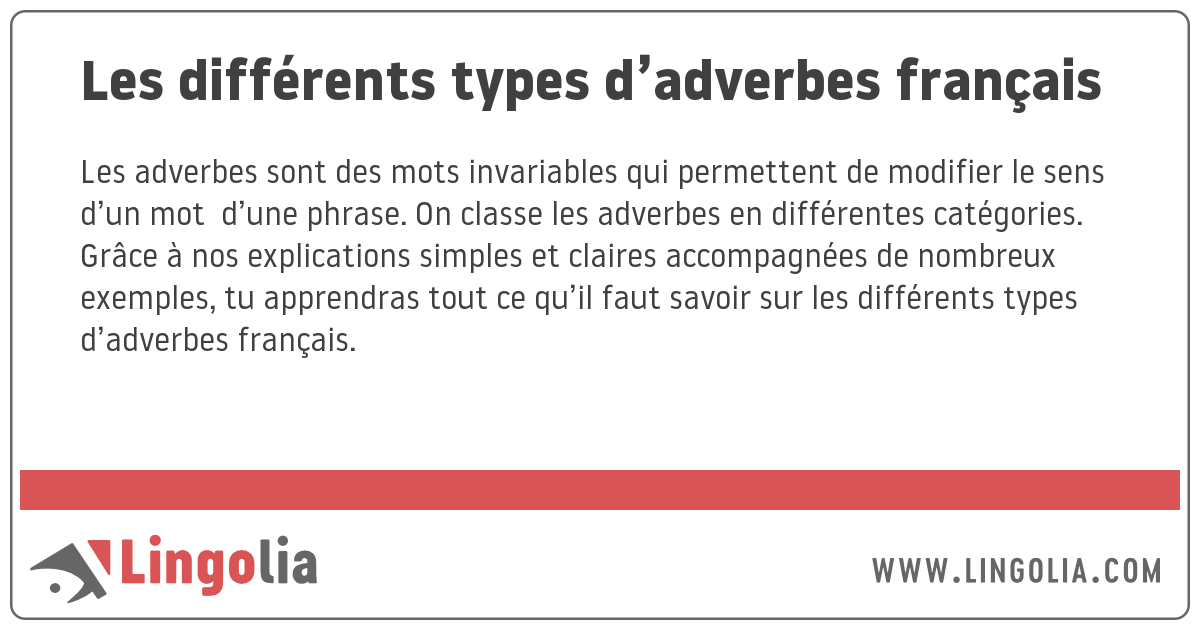 Les Differents Types D Adverbes Francais