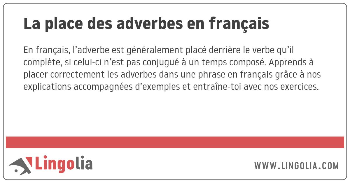 La Place Des Adverbes En Francais