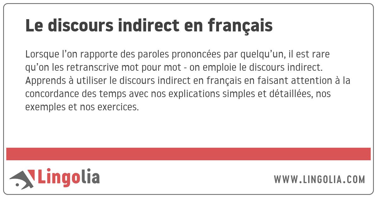 Le Discours Indirect En Francais