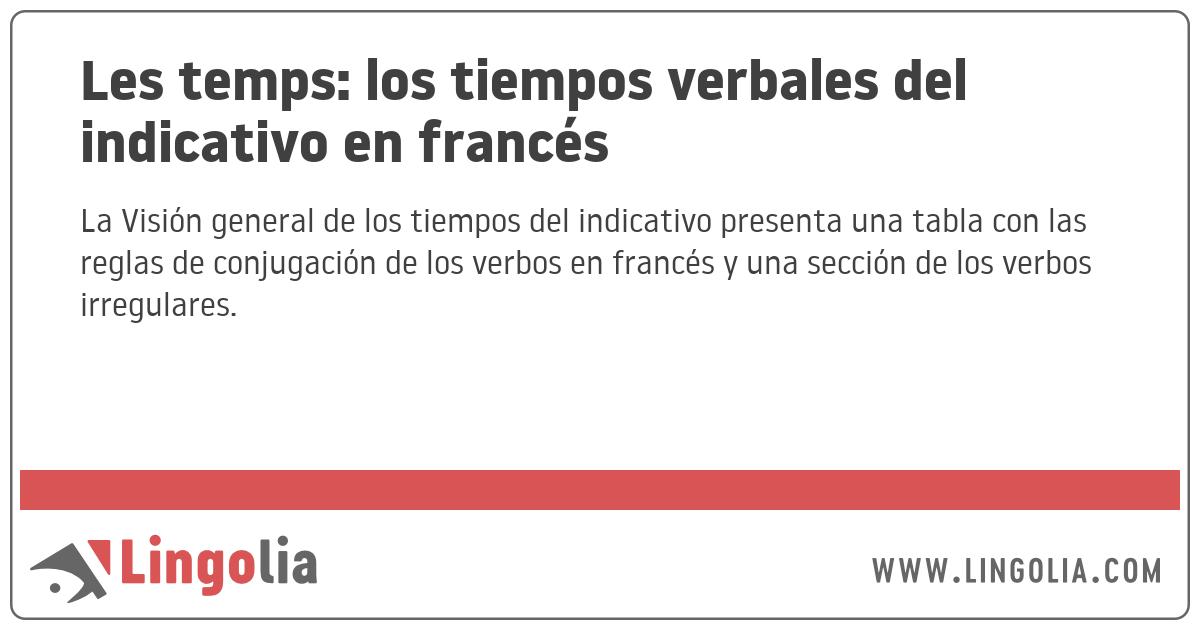 Les Temps Los Tiempos Verbales Del Indicativo En Francés