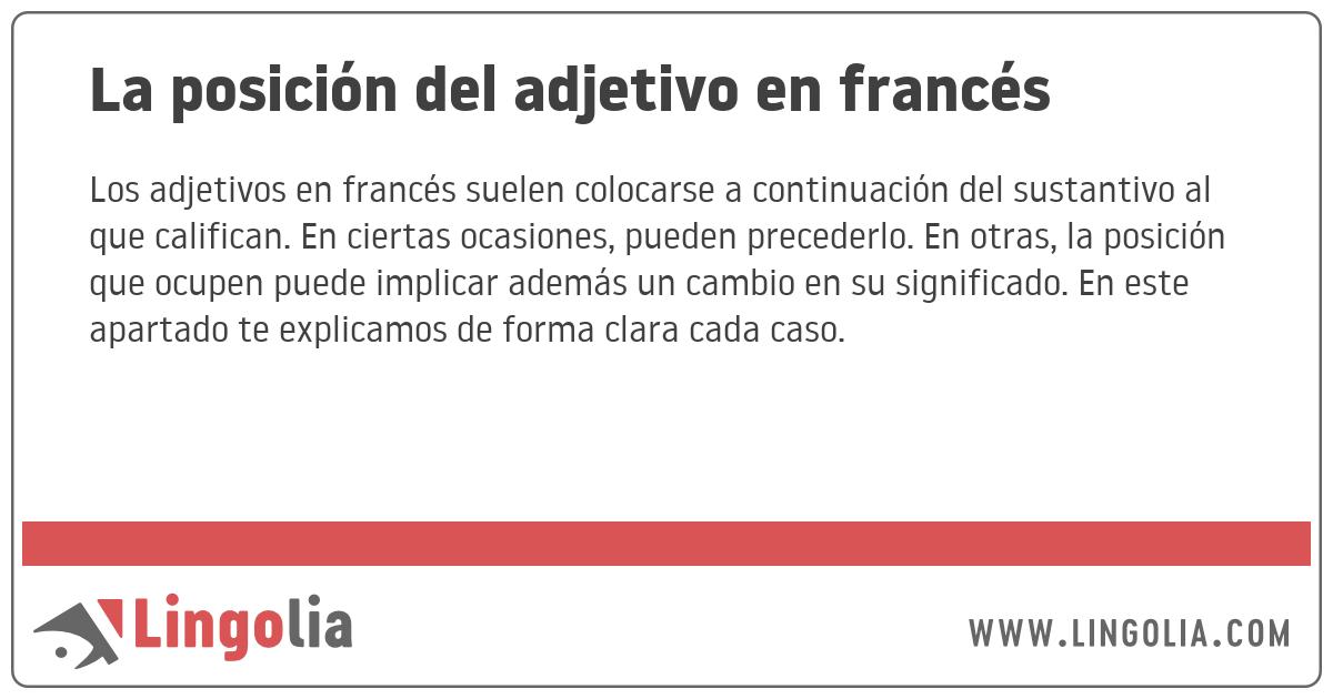 La Posición Del Adjetivo En Francés